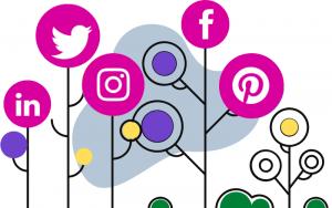 Un arbol que da como frutos los logotipos de las diferentes redes sociales