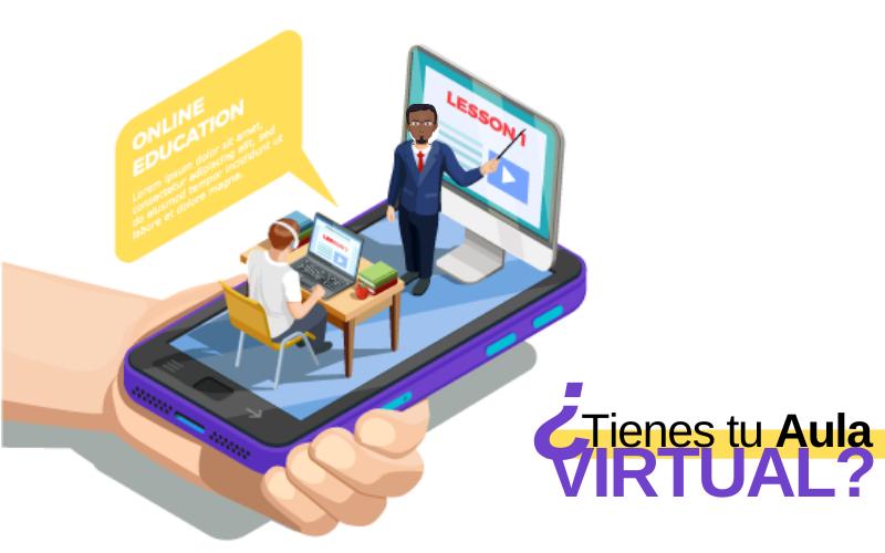 Un profesor da una clase virtual